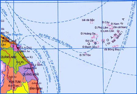 Quần đảo Hoàng Sa cách huyện đảo Lý Sơn của tỉnh Quảng Ngãi chỉ 123 hải lý. Ảnh: Wikipedia