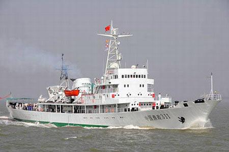Một con tàu ngư chính của Trung Quốc, được đưa đến Trường Sa hồi tháng 4 năm nay. Ảnh: China Daily.