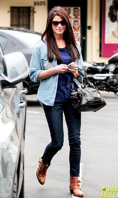 Ashley Greene heads out for an early dinner at Cafe Med on Wednesday (January 23) in West Hollywood, Calif.