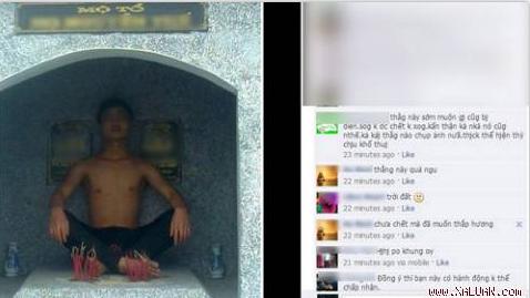 Nam thanh niên chễm chệ trên mộ tổ