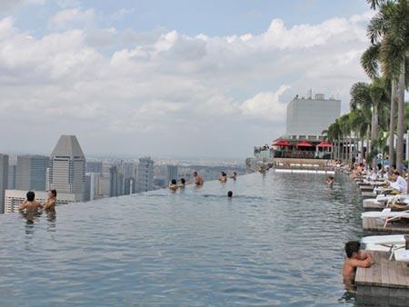 Cận cảnh bể bơi cao nhất thế giới, Du lịch, be boi cao nhat the gioi, be boi, du lich Singapore, khach san Marina Bay Sands, du lich the gioi, phong canh, canh dep, phong canh dep