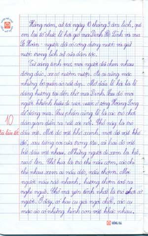 Hình ảnh Những bài văn điểm 10 của bé lớp 3 số 2