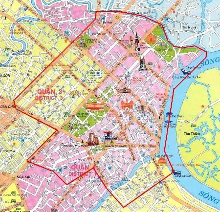 Khu trung tâm TP HCM bao gồm 4 quận 2