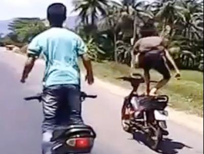 Hình ảnh Quái xế đi xe máy diễn xiếc trên quốc lộ số 1