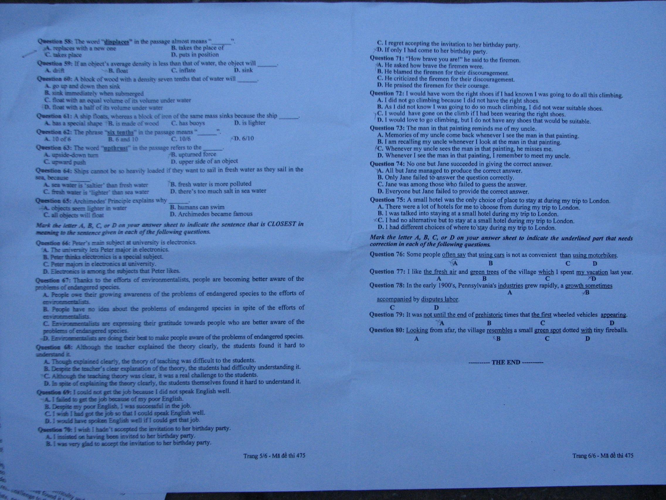 Hình ảnh Đề thi đại học môn Tiếng Anh khối A1 năm 2013 - Mã đề 729, 475, 951, 526, 693 số 6