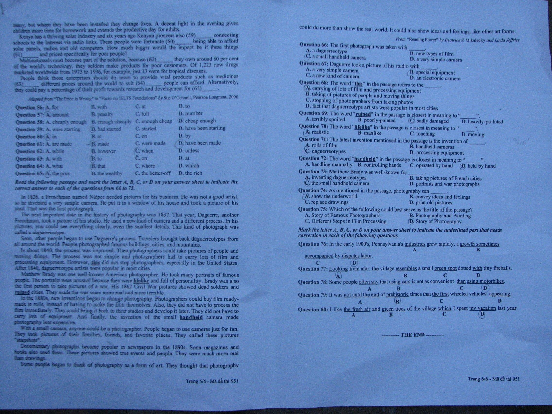 Hình ảnh Đề thi đại học môn Tiếng Anh khối A1 năm 2013 - Mã đề 729, 475, 951, 526, 693 số 9