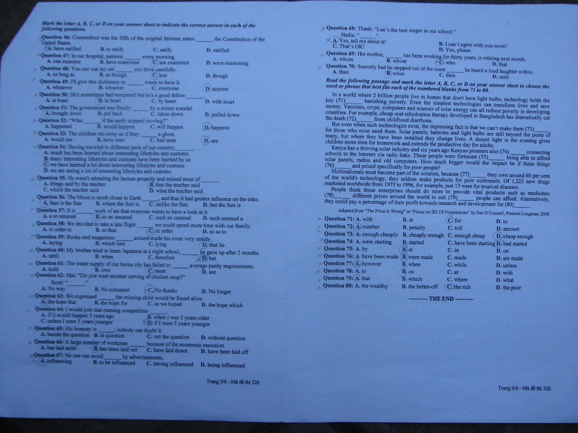 Hình ảnh Đề thi đại học môn Tiếng Anh khối A1 năm 2013 - Mã đề 729, 475, 951, 526, 693 số 12