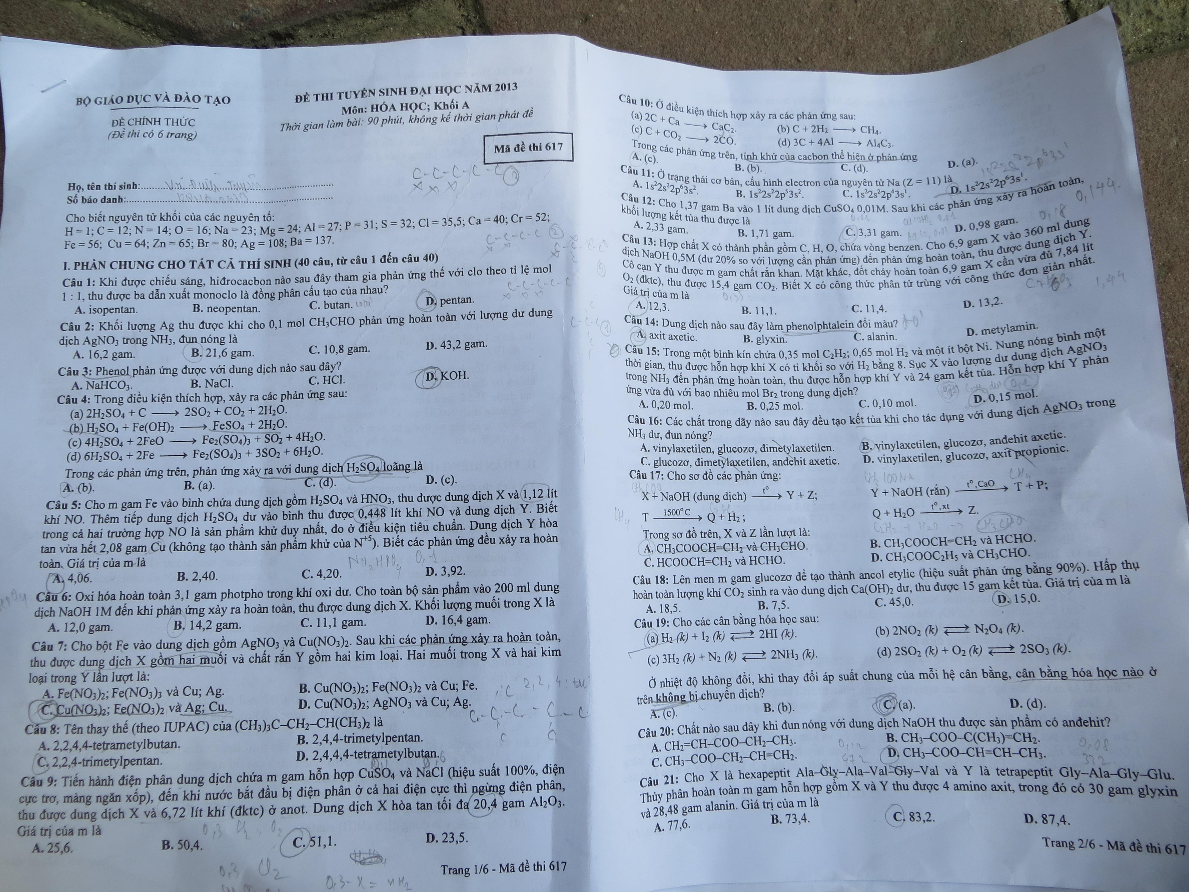 Hình ảnh Đề thi đại học môn Hóa khối A năm 2013 - Mã đề 463, 617, 274, 286, 193, 531 số 7