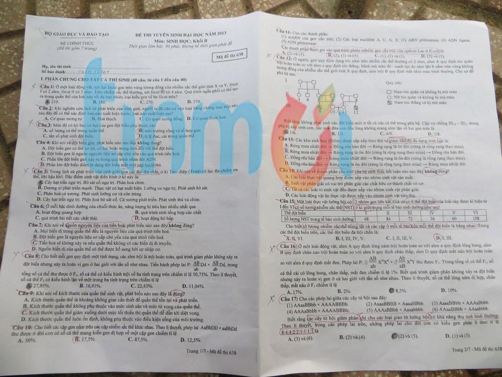 Hình ảnh Đáp án đề thi Đại Học môn Sinh khối B năm 2013 - Đã có đáp án chính thức của Bộ GD & ĐT số 7