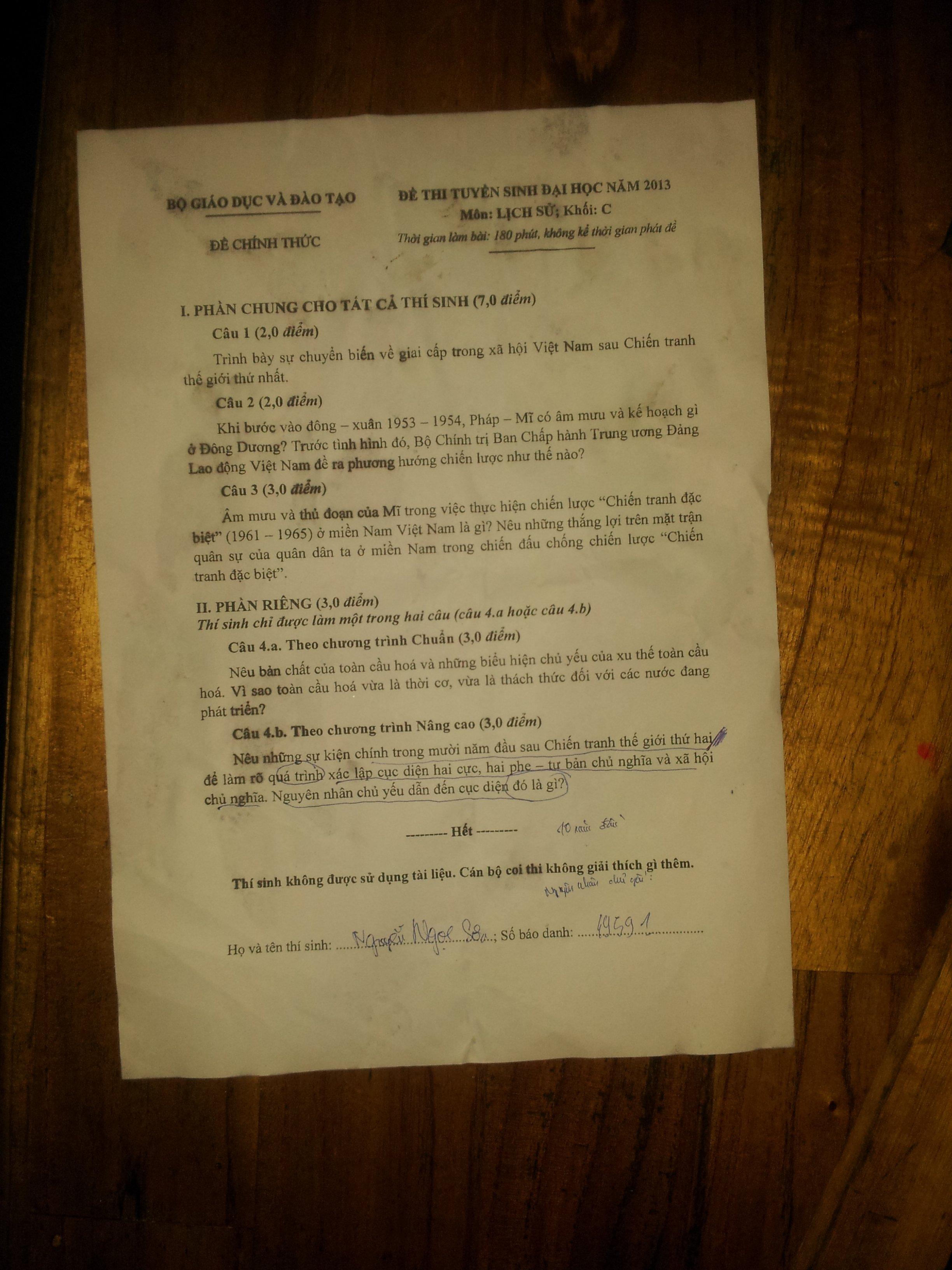 Đáp án đề thi Đại Học môn Lịch Sử khối C năm 2013