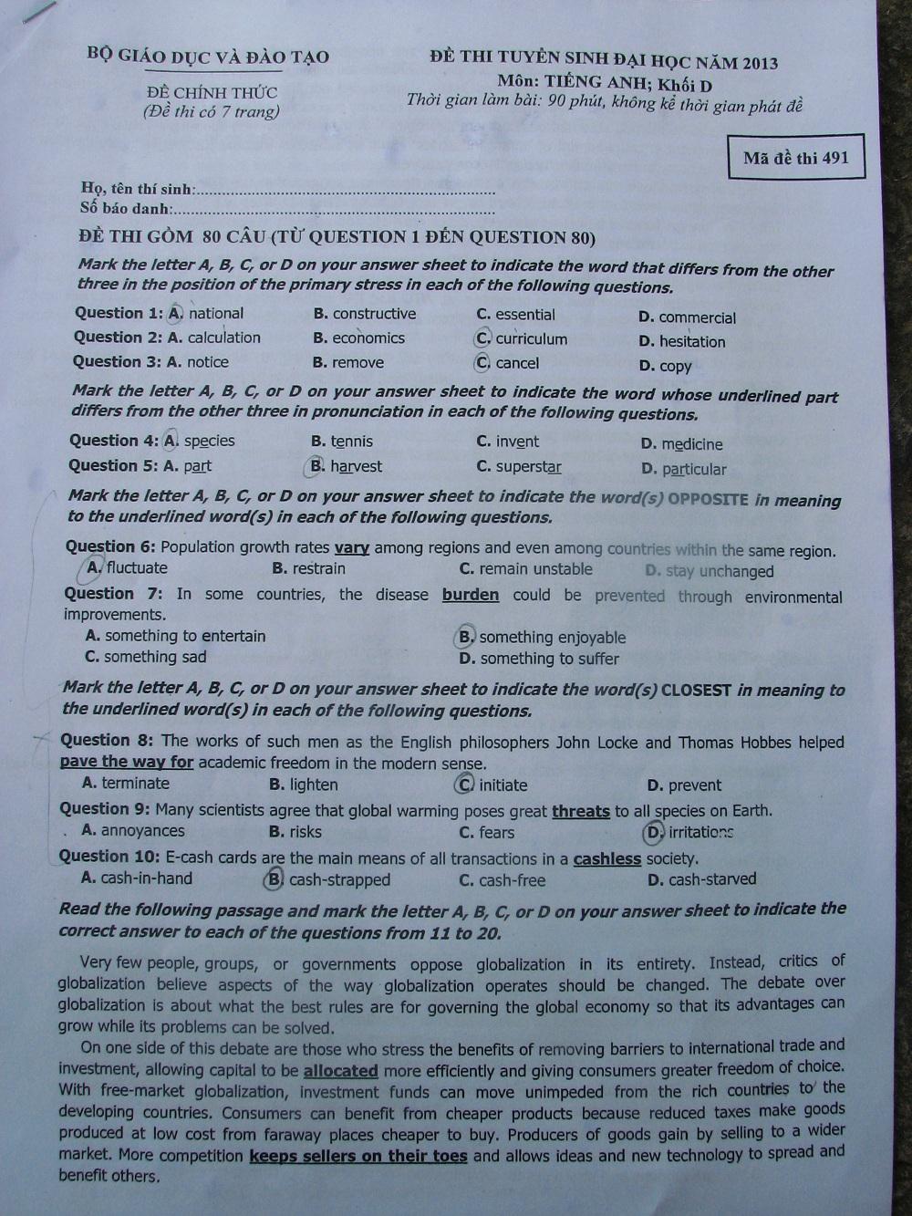 Đáp án đề thi đại học môn Tiếng Anh khối D năm 2013