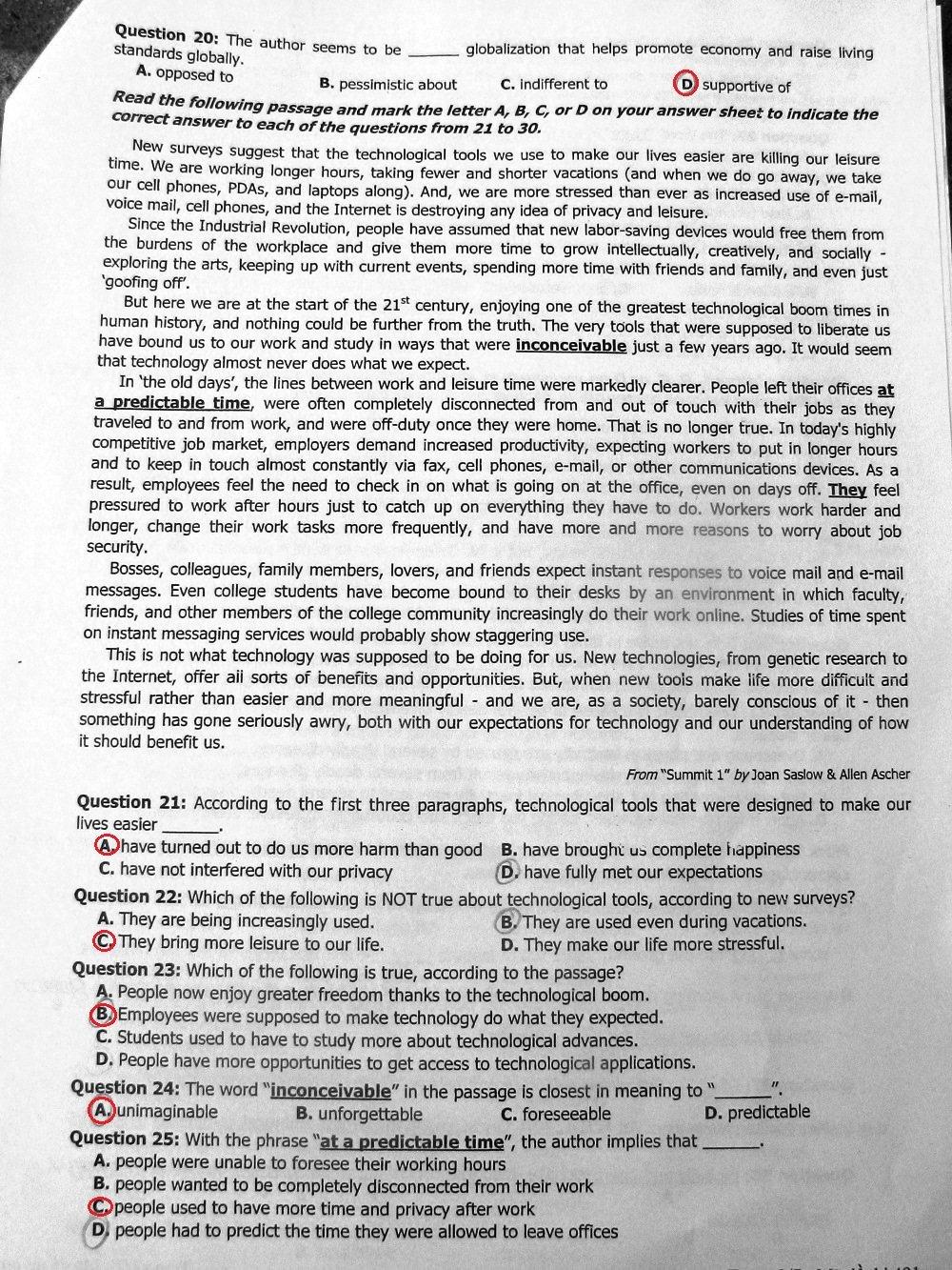 Hình ảnh Đáp án đề thi đại học môn Tiếng Anh khối D năm 2013 - Đáp án chính thức của Bộ GD & ĐT số 5