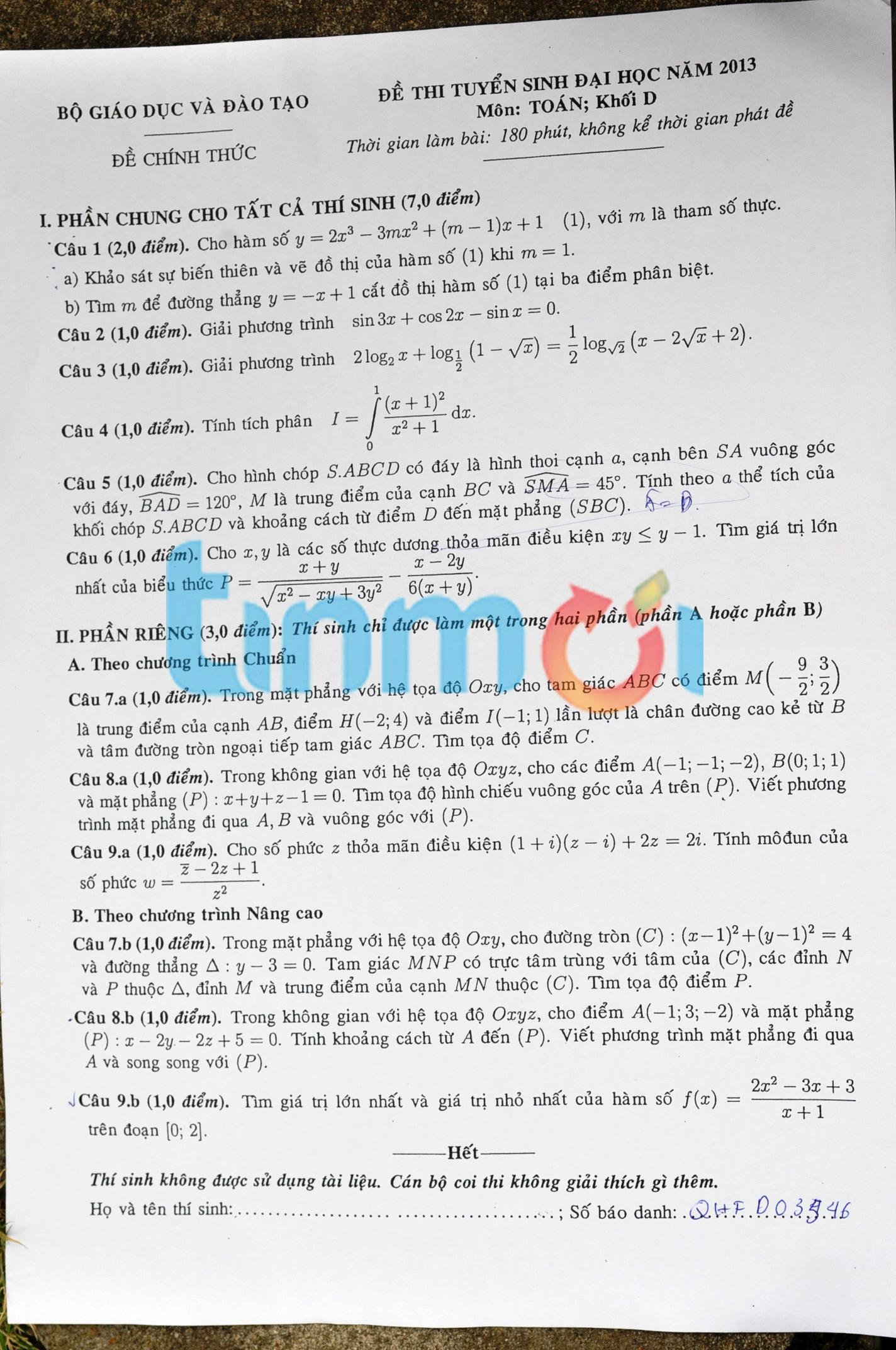 Hình ảnh Đáp án đề thi Đại Học môn Toán khối D năm 2013 - Đã có đáp án của Bộ GD & ĐT số 5