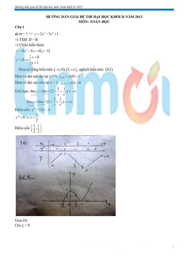 Hình ảnh Đáp án đề thi Đại Học môn Toán khối D năm 2013 - Đã có đáp án của Bộ GD & ĐT số 6
