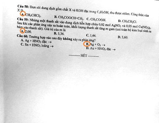 Hình ảnh Đáp án đề thi Đại Học môn Hóa khối B năm 2013 - Đã có đáp án chính thức của Bộ GD & ĐT số 8