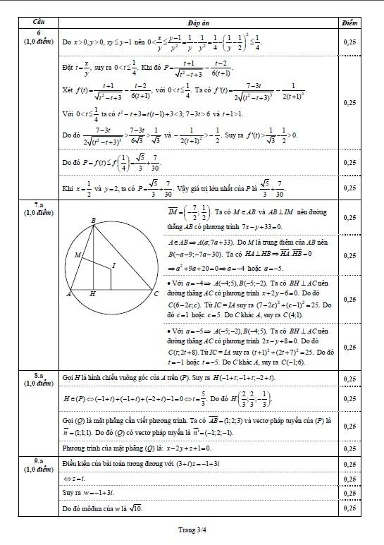 Hình ảnh Đáp án đề thi Đại Học môn Toán khối D năm 2013 - Đã có đáp án của Bộ GD & ĐT số 3
