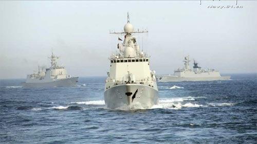 Chùm ảnh tàu chiến Nga-Trung dàn trận trên biển