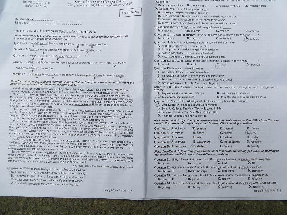 Hình ảnh Đáp án đề thi Cao đẳng môn Tiếng Anh khối A1, D năm 2013 - Đã có đáp án chính thức của Bộ GD-ĐT số 3