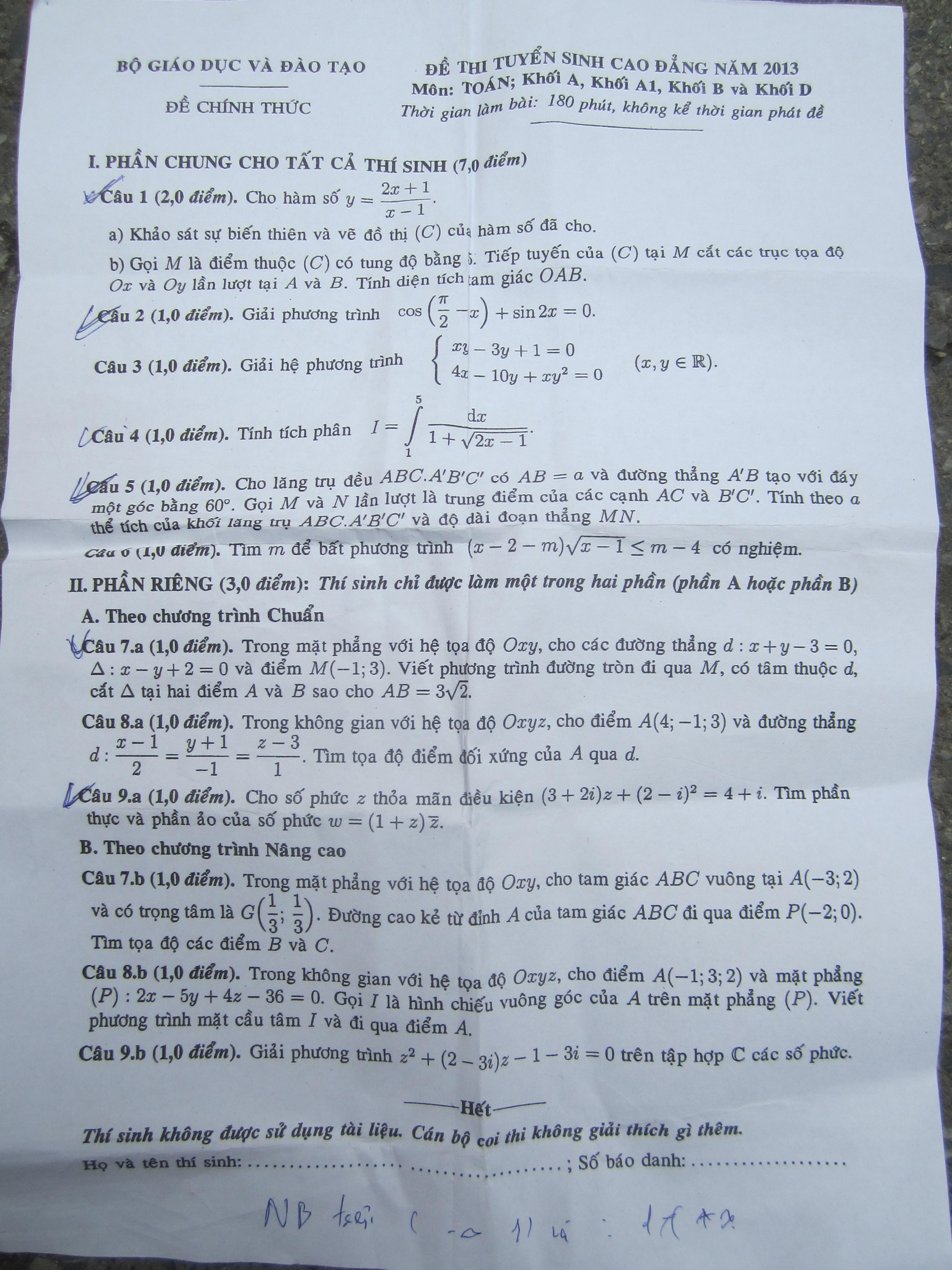 Đáp án đề thi Cao đẳng môn Toán khối A, A1, B, D năm 2013 – Đã có gợi ý đáp án