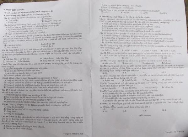Hình ảnh Đáp án đề thi Cao đẳng môn Sinh học khối B năm 2013 - Đã có đáp án chính thức của Bộ GD-ĐT số 5