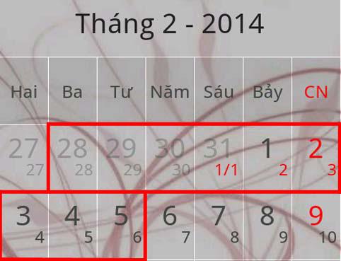 Lịch nghỉ Tết 2014 Giáp Ngọ kéo dài đến 9 ngày anh 1