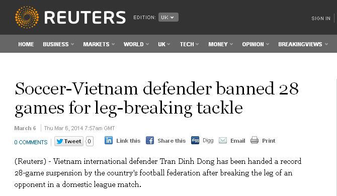 Án phạt của VFF đối với Đình Đồng gây chấn động báo nước ngoài 5