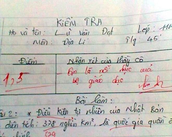 Lời phê bá đạo của giáo viên trong bài kiểm tra 8
