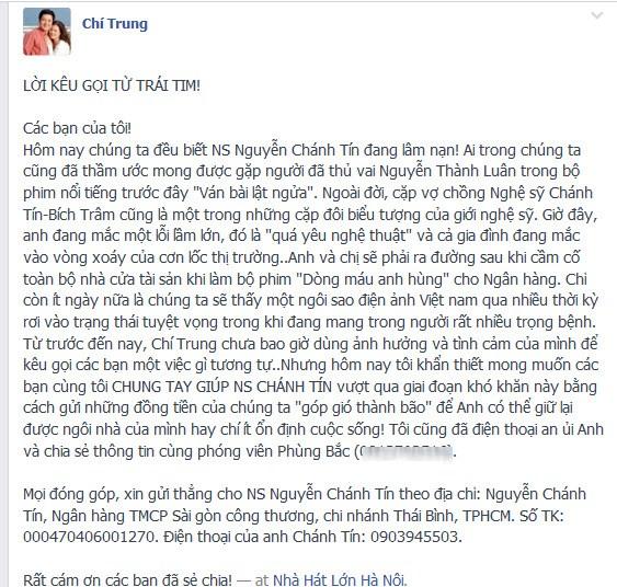 Lời kêu gọi giúp đỡ NSƯT Chánh Tín của NS Chí Trung lay động dân mạng 4