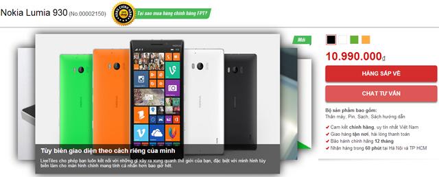 Giá bán Lumia 930 chính hãng tại Việt Nam là 11 triệu đồng 5