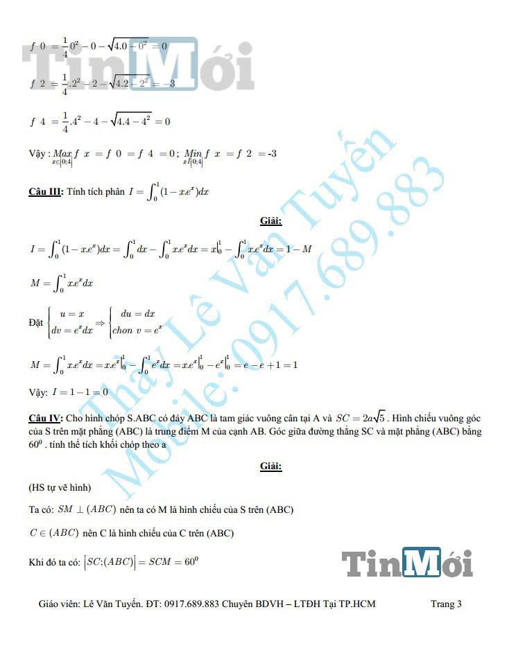 Đáp án đề thi tốt nghiệp THPT môn Toán năm 2014 3