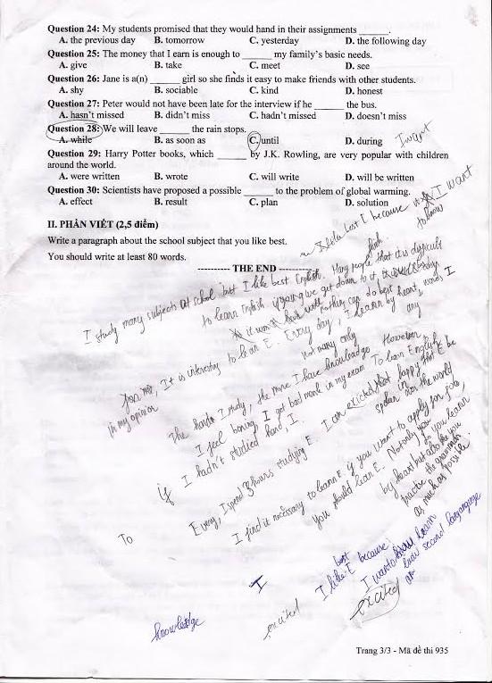 Đáp án đề thi tốt nghiệp THPT môn Tiếng Anh năm 2014 3