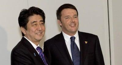 Thủ tướng Nhật Shinzo Abe và Thủ tướng Ý Matteo Renzi trong cuộc gặp hôm 6/6 tại Rome