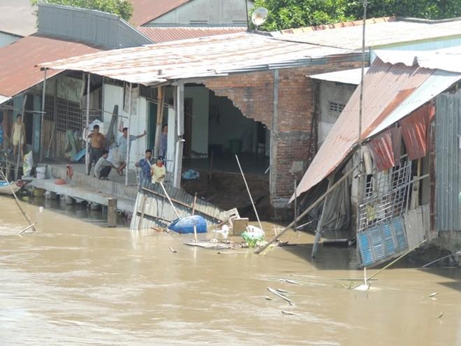 Cận cảnh hàng chục căn nhà sập xuống sông ở Hậu Giang 6