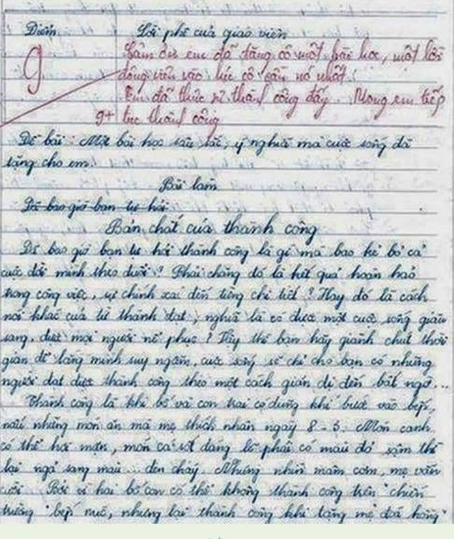 Bài văn điểm 9 khiến cô giáo phải cảm ơn 4