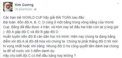 Thầy Văn Như Cương ra đề Toán liên quan đến World Cup 5