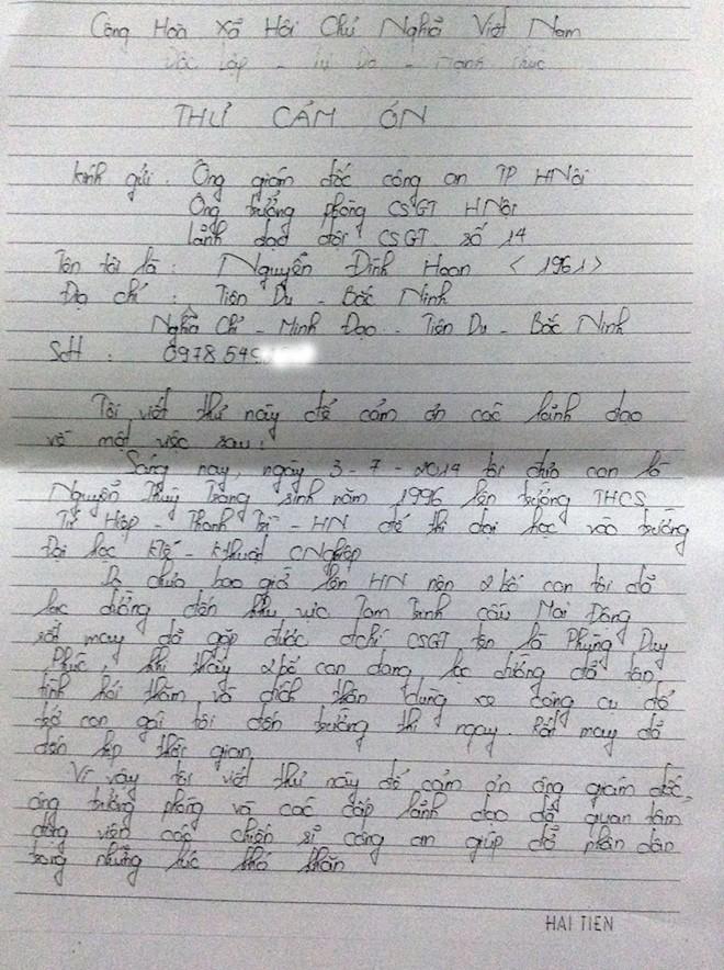 Các nữ sinh viết thư cảm ơn CSGT đưa đi thi 4
