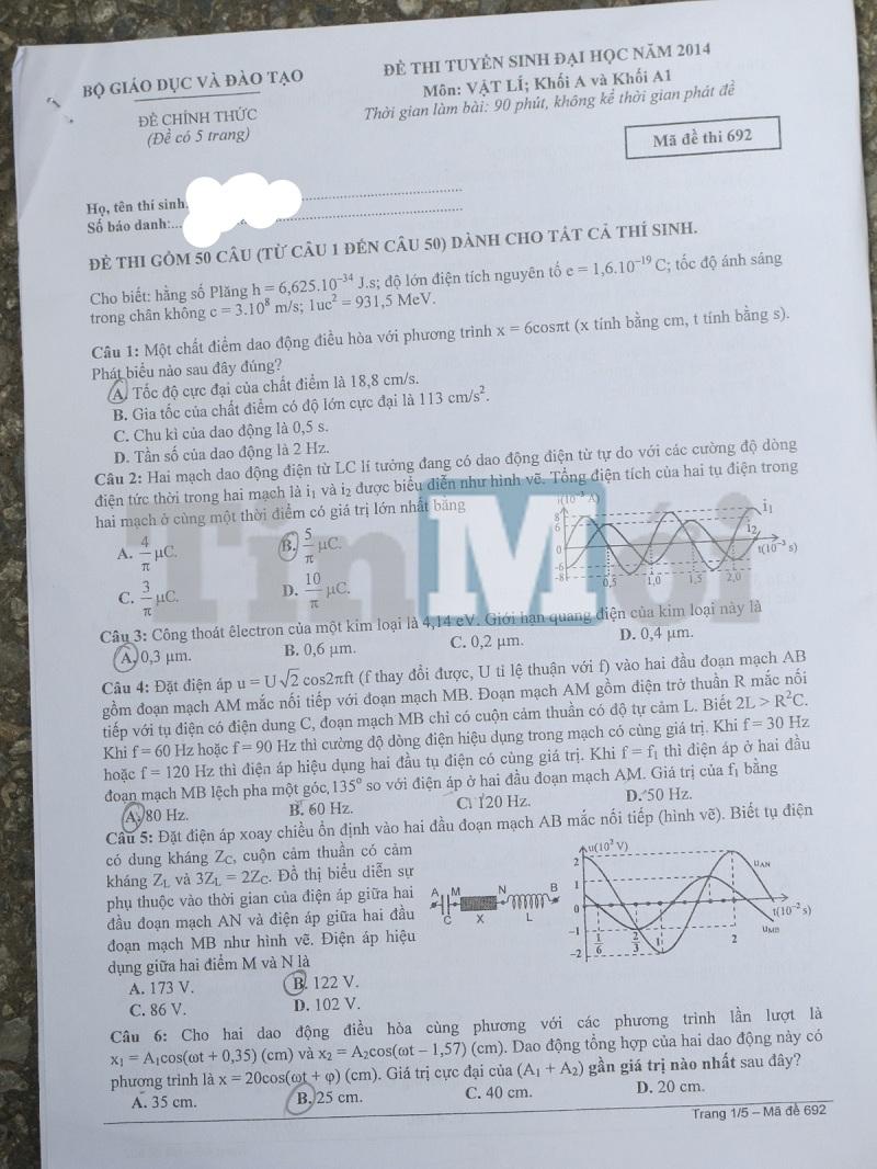 Đề thi đại học môn Vật Lý khối A và A1 năm 2014 1