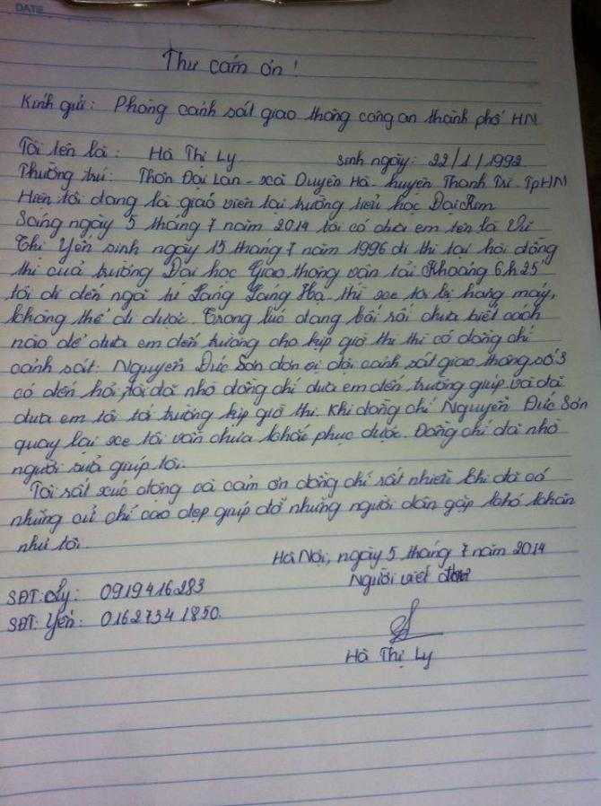 Sĩ tử viết tâm thư cảm ơn cảnh sát giao thông 5