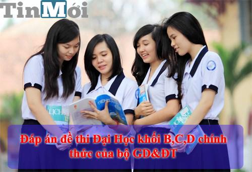 Đáp án đề thi Đại học khối B-C-D năm 2014 chính thức của bộ GD&ĐT 1