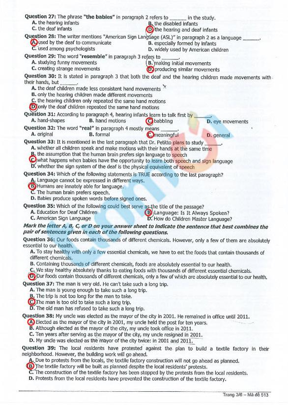Đáp án đề thi Cao đẳng môn Tiếng Anh khối D, A1 năm 2014 3
