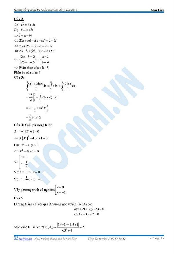 Đáp án đề thi Cao đẳng môn Toán khối A, A1, B, D năm 2014 3