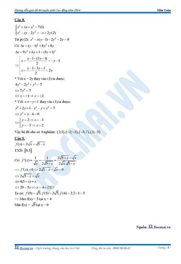 Đáp án đề thi Cao đẳng môn Toán khối A, A1, B, D năm 2014 5