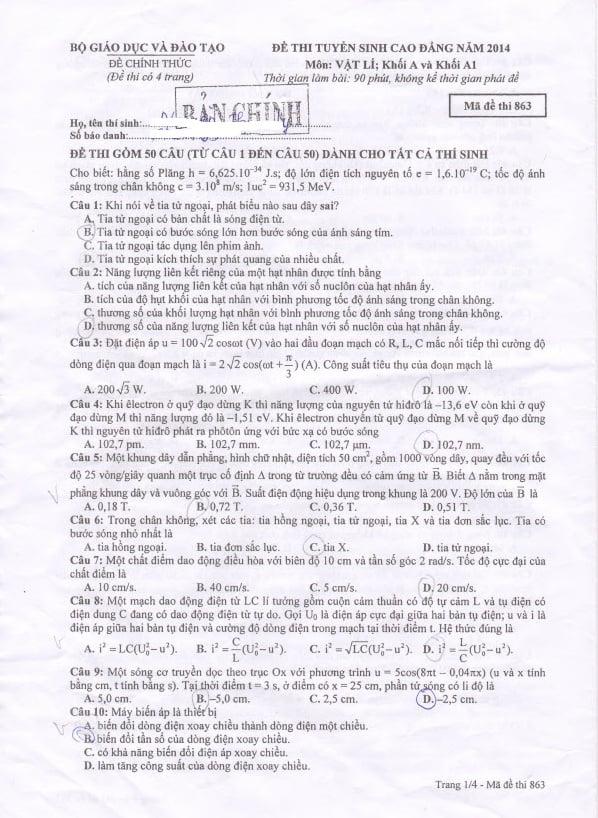 Hình ảnh Đáp án đề thi Cao đẳng môn Vật Lý khối A, A1 năm 2014 số 1