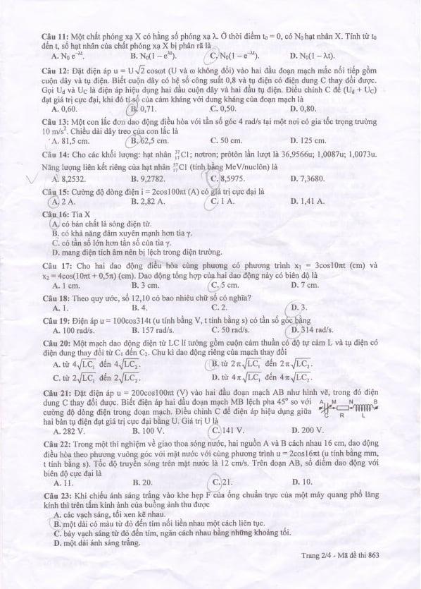 Đáp án đề thi Cao đẳng môn Vật Lý khối A, A1 năm 2014 2