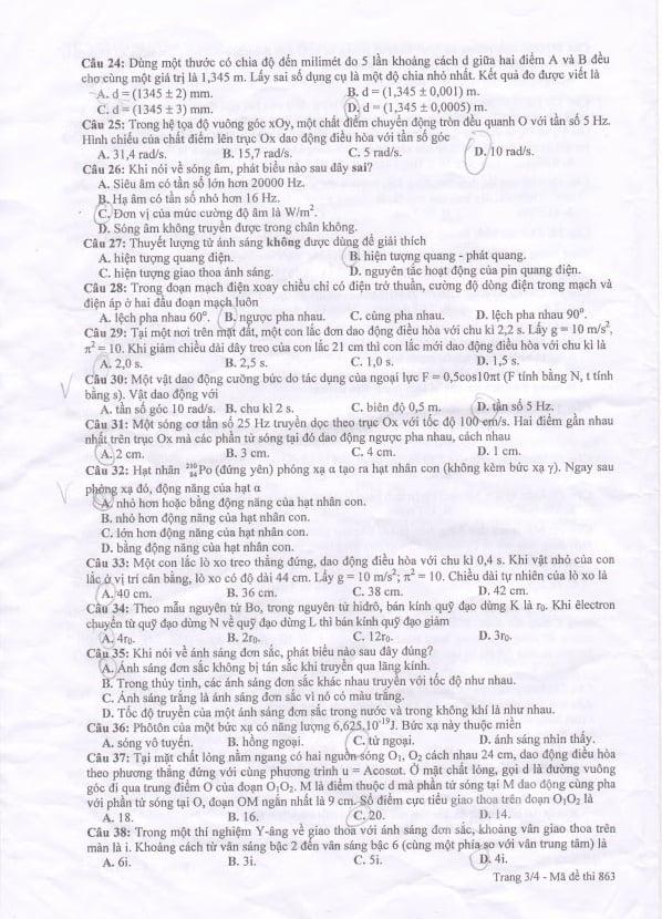 Hình ảnh Đáp án đề thi Cao đẳng môn Vật Lý khối A, A1 năm 2014 số 3