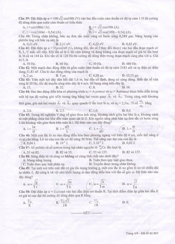 Hình ảnh Đáp án đề thi Cao đẳng môn Vật Lý khối A, A1 năm 2014 số 4
