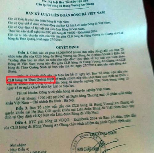 Sai sót khó đỡ trong công văn kỷ luật CLB An Giang của VFF 6