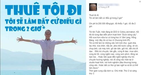 Hình ảnh Chàng trai Việt rao tin cho thuê thân giá 200.000 đồng/giờ số 1