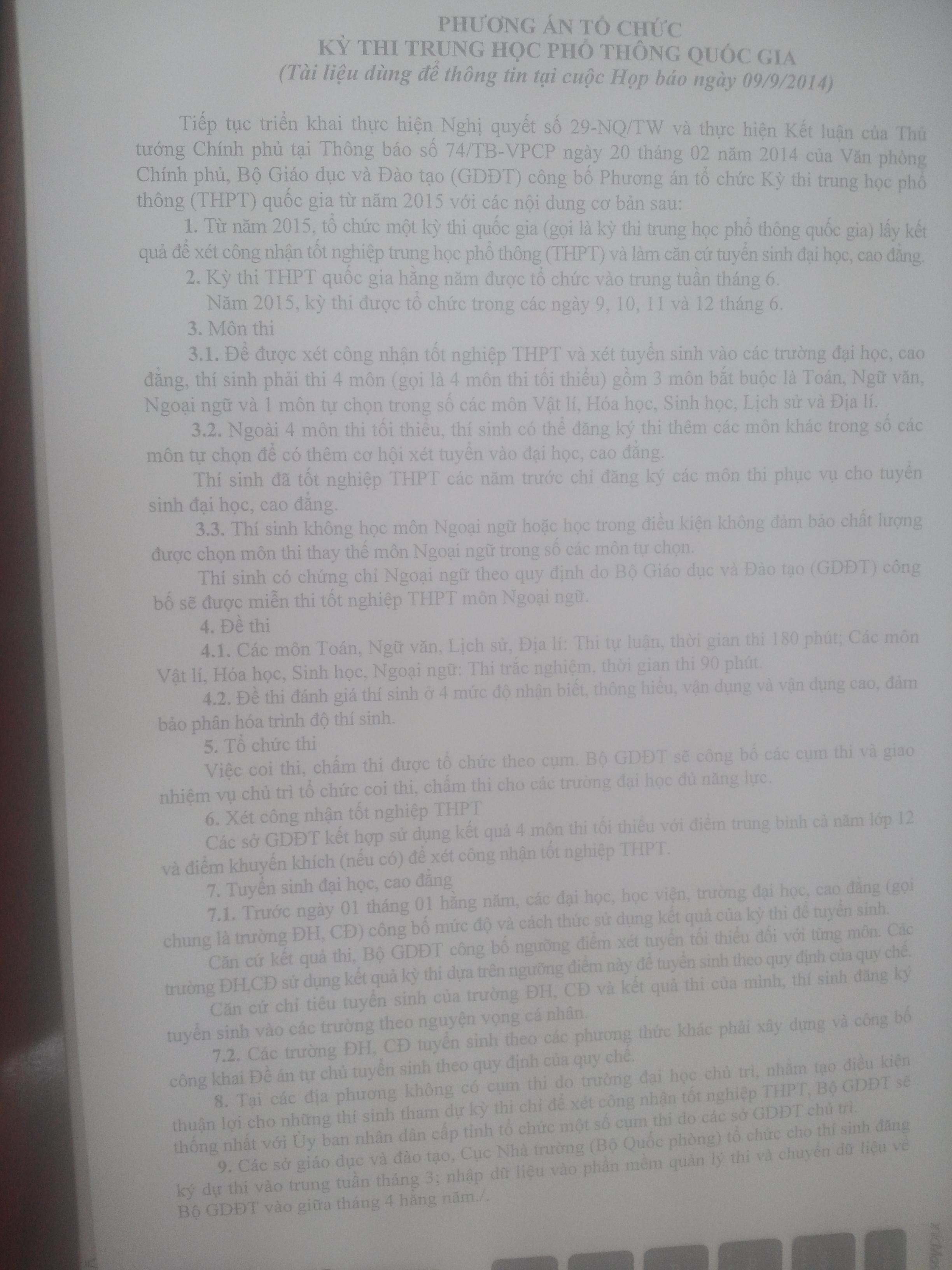 Chính thức công bố phương án kỳ thi quốc gia 2015 5