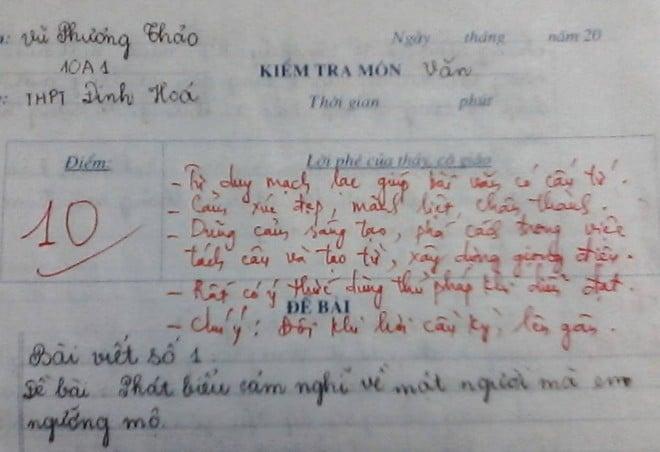 Hình ảnh Bài văn điểm 10 khiến giáo viên nể phục số 1